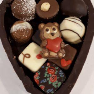 Moederdag hart met bonbons